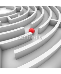 ag visuell, 3D-Illustration: Labyrinth mit roter Kugel