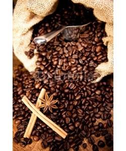 AK-DigiArt, Kaffeebohnen geröstet im Sack mit Schaufel Zimtstange Anisstern