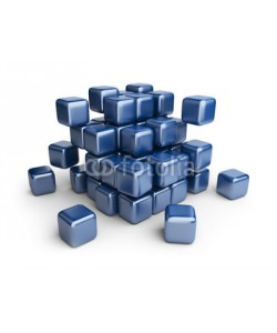Aleksandr Bedrin, Assemble or destruction cubes. 3D Illustration isolated on white