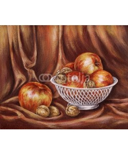 alexcoolok, Apples and nuts on a red