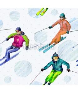 Aloksa, Skiers. Seamless texture watercolor