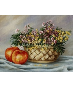 alexcoolok, Basket with buttercups and apples