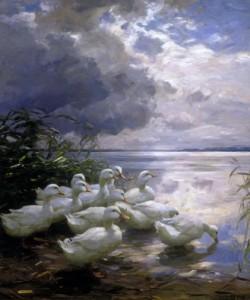 Alexander Koester, Enten am Seeufer