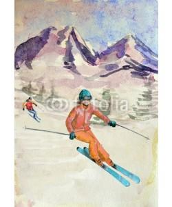 Aloksa, Winter mountain landscape. watercolor