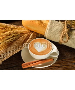 amenic181, A cup of cafe latte and bread