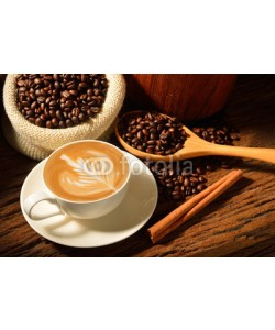amenic181, A cup of cafe latte and coffee beans
