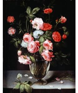 Ambrosius Brueghel, Rosen und Nelken in einer Glasvase auf einem Sims