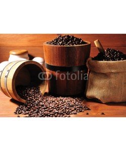 amenic181, Coffee beans in burlap sack and wooden bucket