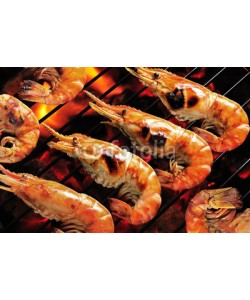 amenic181, Grilled prawns on flaming grill.