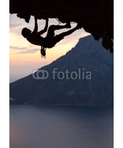 Andrey Bandurenko, Silhouette of a rock climber at sunset. Kalymnos Island, Greece.