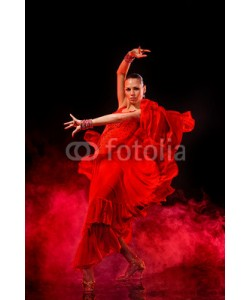 Andy-pix, Young woman dancing Latino on dark smoky background
