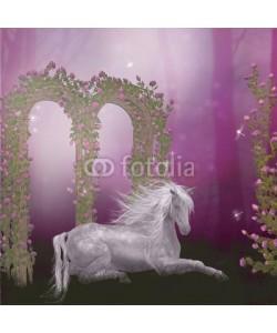 Ancello, horse in the roses garden