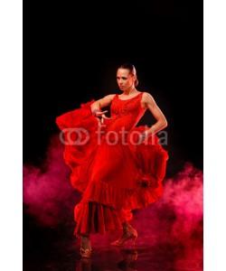 Andy-pix, Beautiful Latino dancer in action. Dark smoky background