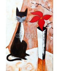 arsdigital, Chat noire avec un fleur