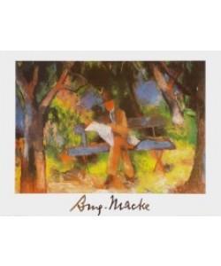 August Macke, Lesender Mann im Park, 1914