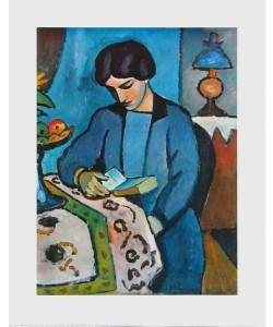 August Macke, Lesendes Mädchen in Blau
