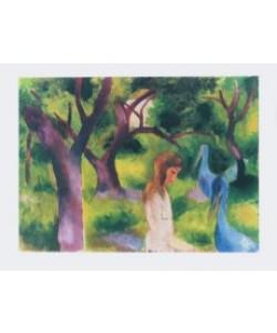 August Macke, Mädchen mit blauen Vögeln (Kupfertiefdruck)