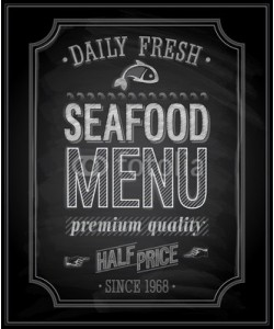 avian, SeaFood Poster - Chalkboard. Vector illustration.