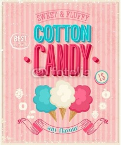 avian, Vintage Cotton Candy Poster. Vector illustration.