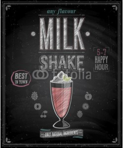 avian, Vintage MilkShake Poster - Chalkboard. Vector illustration.