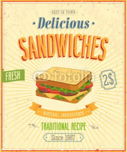 avian, Vintage Sandwiches Poster. Vector illustration.