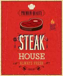 avian, Vintage Steak House Poster. Vector illustration.