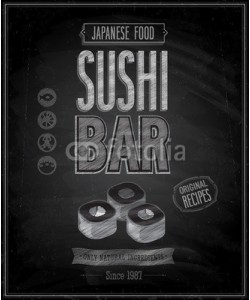 avian, Vintage Sushi Bar Poster - Chalkboard. Vector illustration.
