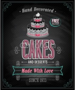 avian, Cakes Poster - Chalkboard. Vector illustration.