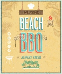 avian, Vintage Beach BBQ poster. Vector background.