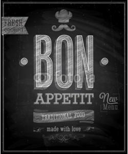 avian, Vintage Bon Appetit Poster - Chalkboard. Vector illustration.
