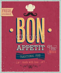 avian, Vintage Bon Appetit Poster. Vector illustration.