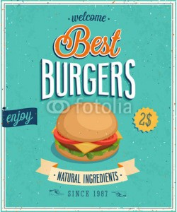 avian, Vintage Burgers Poster. Vector illustration.