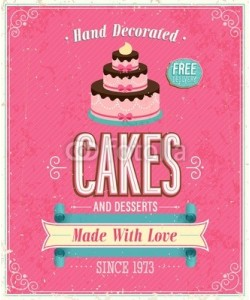avian, Vintage Cakes Poster. Vector illustration.