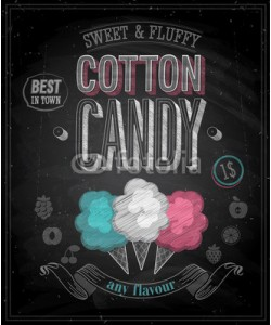 avian, Vintage Cotton Candy Poster - Chalkboard. Vector illustration.