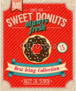 avian, Vintage Donuts Poster. Vector illustration.