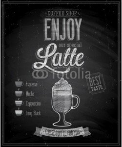 avian, Vintage Latte Poster - Chalkboard. Vector illustration.