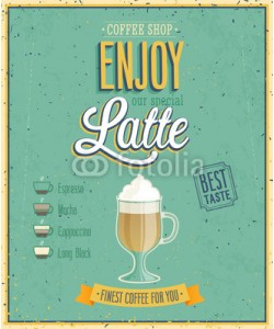 avian, Vintage Latte Poster. Vector illustration.