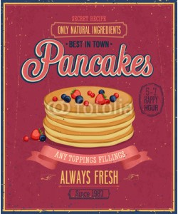 avian, Vintage Pancakes Poster. Vector illustration.