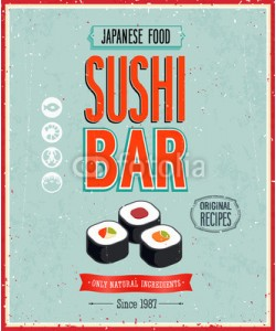 avian, Vintage Sushi Bar Poster. Vector illustration.