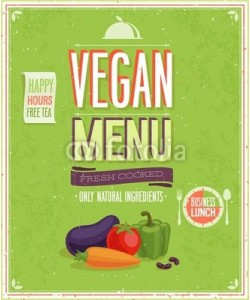 avian, Vintage Vegan Menu Poster. Vector illustration.