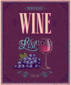 avian, Vintage Wine List Poster. Vector illustration.