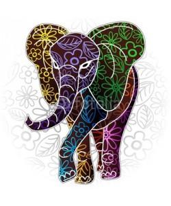 bluedarkat, Elephant Floral Batik Art Design