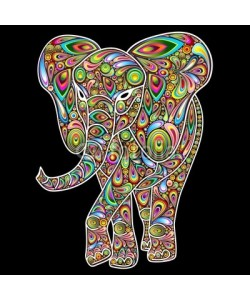 bluedarkat, Elephant Psychedelic Pop Art Design on Black