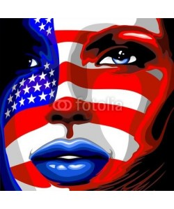 bluedarkat, Usa Flag on Girl's Portrait-Bandiera Stati Uniti su Viso Donna
