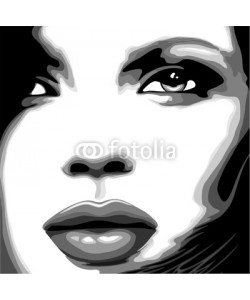 bluedarkat, Viso Donna Clip Art-Stylized Woman Girl's Face-Vector