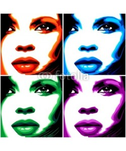 bluedarkat, Viso Donna Pop Art-4 Colori-Stylized Woman Girl's Face -Vector