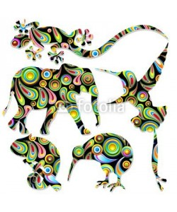 bluedarkat, Animali Selvaggi Pop Art Wild Animals-Vector