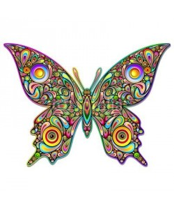 bluedarkat, Butterfly Psychedelic Art Design-Farfalla Stile Psichedelico