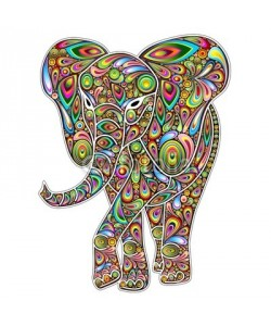 bluedarkat, Elephant Psychedelic Pop Art Design on White