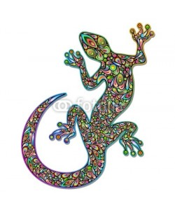 bluedarkat, Gecko Geko Lizard Psychedelic Art Design-Geco Psichedelico